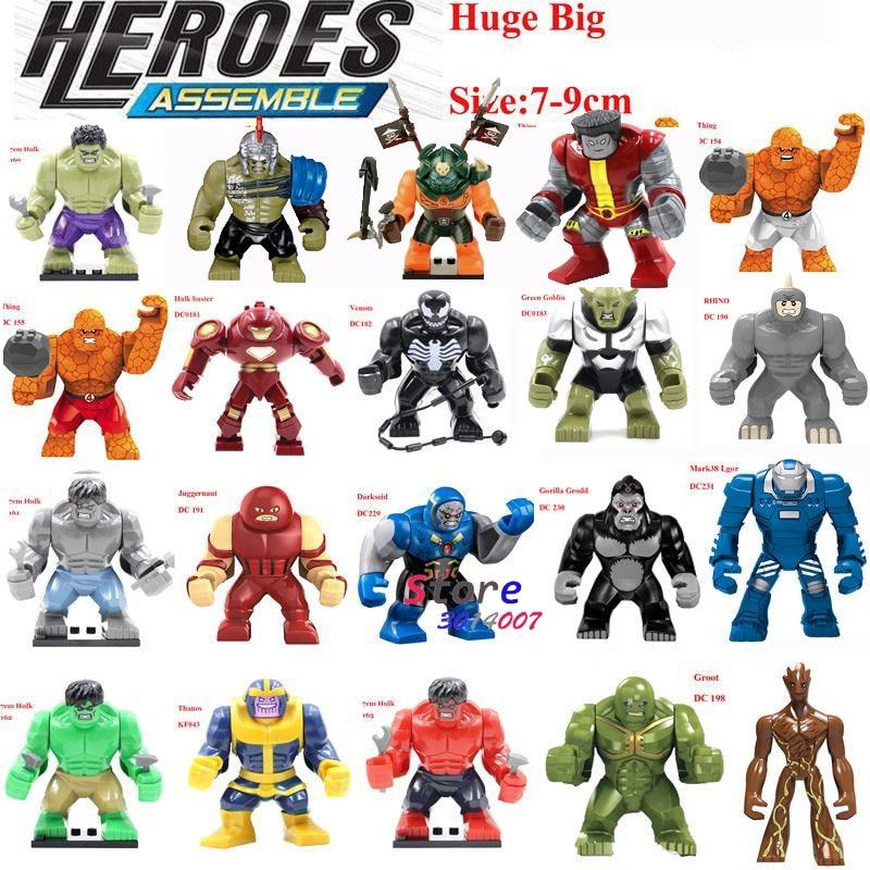 Single Sale Large Big Size Marvel Super Heroes Thanos Hulk Venom Ironman  Ninja Dogshank Building Blocks Toys for children single sale max figures hulk buster groot thanos legoings super heroes dogshank batman venom iron man building blocks toys