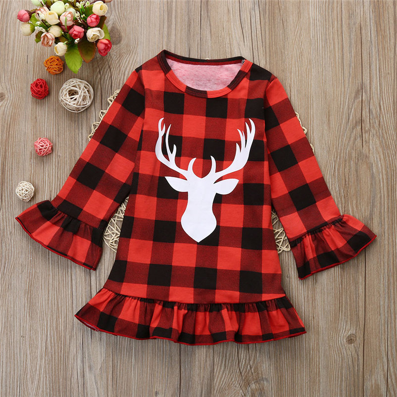kawaii christmas plaid dress for toddler girls causal comfortable girls dress sweet soft dress conjunto menina 4OT1 (9)