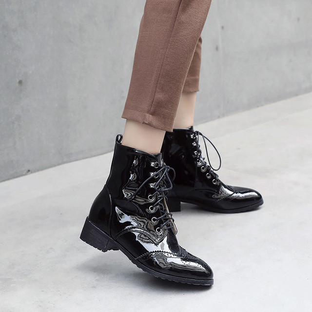 85ea8da7ef0 YMECHIC Plus Size Black Patent Leather Pu Goth Punk Lace Up Brogue Carved Womens  Shoes Chunky Heels Ankle Combat Boots for Women