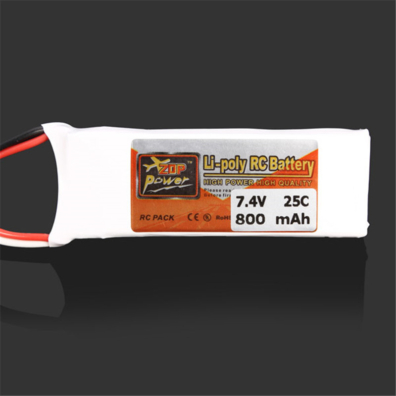 2018 Newest Rechargeable ZOP Power 7.4V 800MAH 2S 25C Lipo Battery JST Plug Connector For RC Drones FPV Quadcopter Toys Models