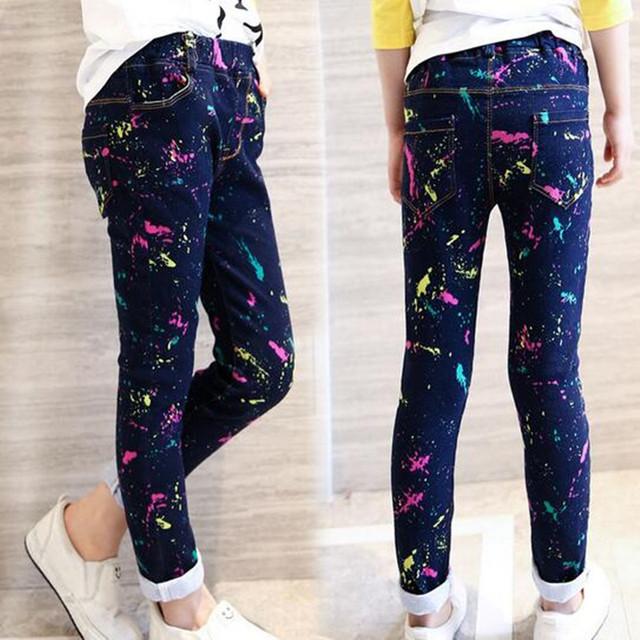 Muchachas de la manera Pantalones Vaqueros de Marca Primavera Casual Denim Pantalones Para Niños Niñas Pantalones Vaqueros Lindos Para Niñas