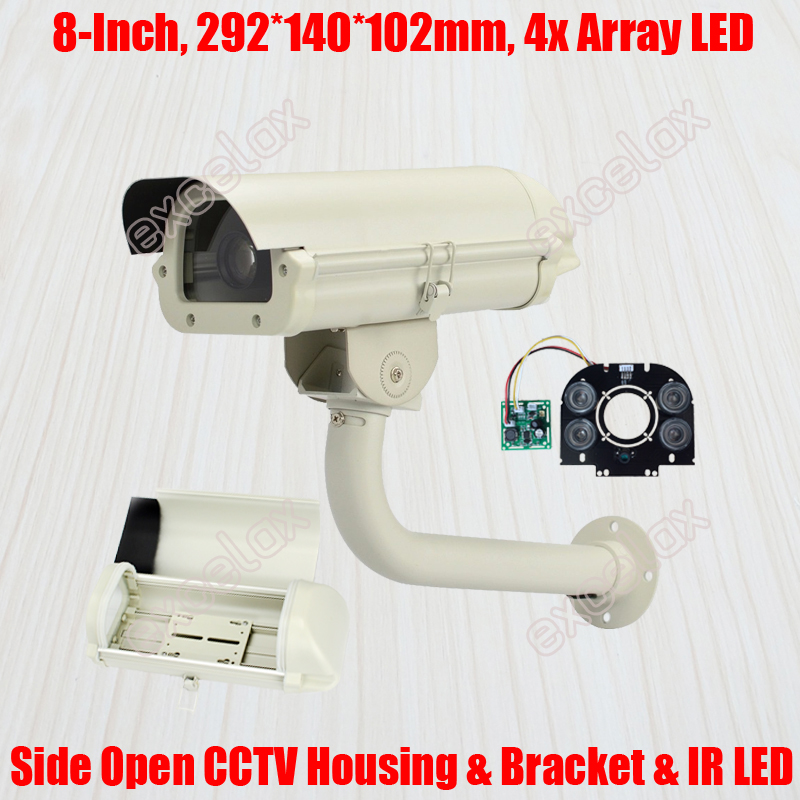 6 CCTV Camera Housing Bracket Array LED IR Board 242x140x102mm IP66 Waterproof Outdoor Enclosure for Zoom