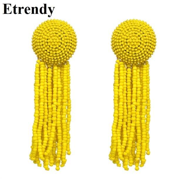 Большие каучуковые бусины и кисточки серьги для женщин длинные модные ювелирные изделия вечерние Boho 2018 массивные Серьги Аксессуары для бахромы желтый красный
