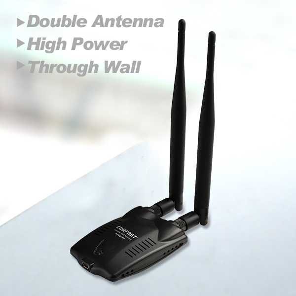 Free shipping high power adapter COMFAST CF WU7200ND 300Mpbs 12dBi High Gain Double Antennas Ralink 3072