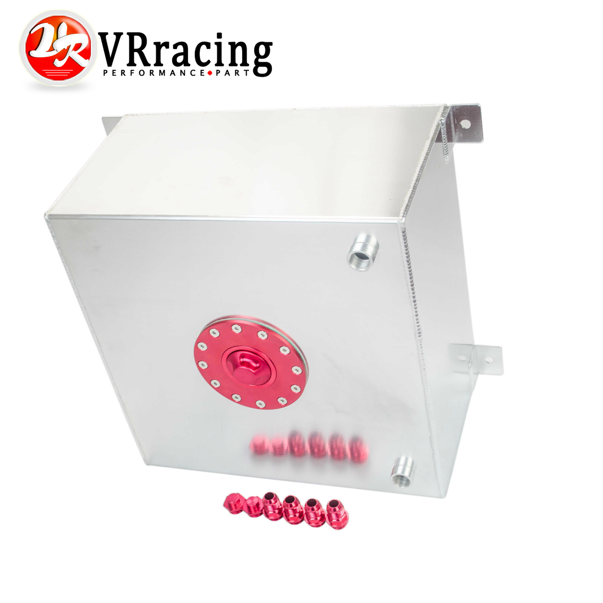 VR RACING - 15 GALLON/56.8L RACING ALUMINUM GAS FUEL CELL TANK WITH BILLET RED CAP FUEL SURGE TANK VR-TK72 tansky high q external 044 dual fuel pump anodized billet aluminum fuel surge tank tk yx6012 2k044