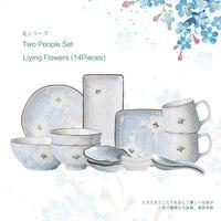Японском стиле горные цветы серии из двух людей Пособия по кулинарии Керамика Посуда набор чаша для риса миска суши пластины подарок