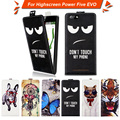 High quality fashion cartoon pattern flip up and down leather case for Highscreen Power Five EVO,Free gift