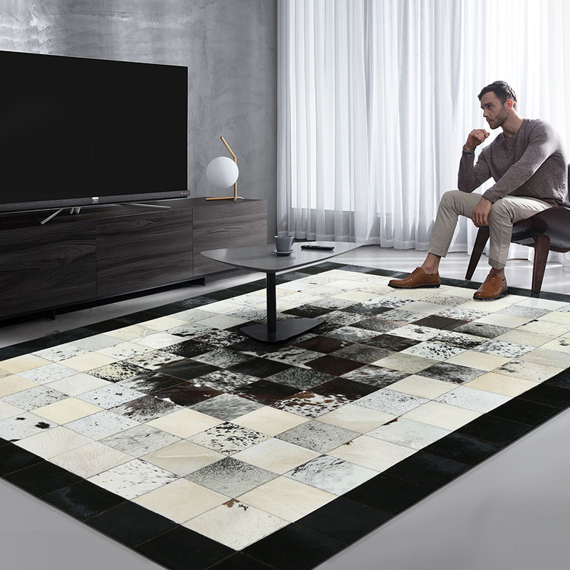 Black And White Luxury Cowhide Patch Work Rug,big Size Natural Cow Skin Fur Carpet For Living Room Decoration Office Carpet