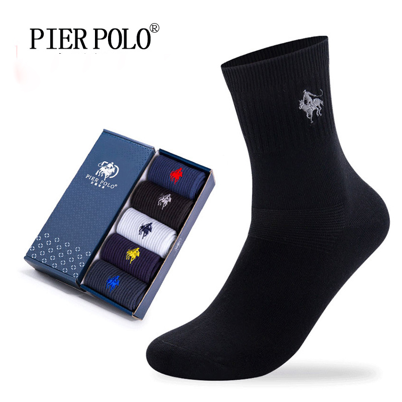 PIER POLO Socks Fashion Brand Business Men Socks Crew Cotton Socks Deodorant Embroidery Dress Socks For Men
