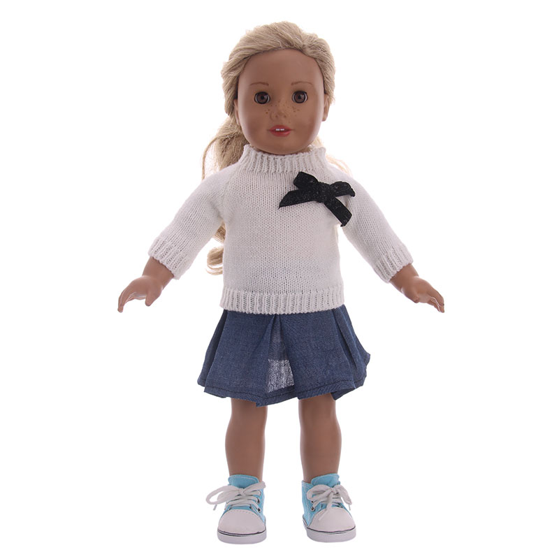 Doll Clothes 3 colors sweater+ fit American Girl Doll For 18 inch&43cm baby born - , Children best Birthday Gift pink hat coat leggings doll clothes wear fit 43cm baby born zapf 18 american girl doll clothes children best birthday gift