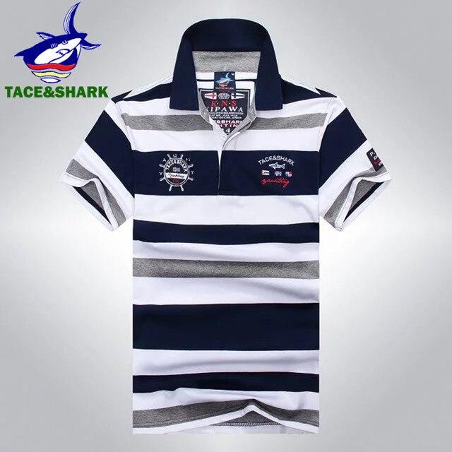 ef4fca2cd5 Top Venda Listrado Tace   Shark Tubarão Polo Camisa Marca de Roupas de Verão  Moda Masculina