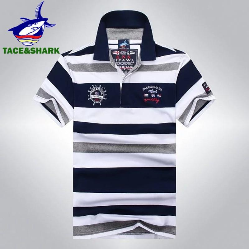 Top Venda Listrado Tubarão Tace Camisa Polo Roupas de Verão Da Marca   Shark  Moda Frio do Sexo Masculino Camisas Pólo de Algodão dos homens é Curta manga af55247c43aa9