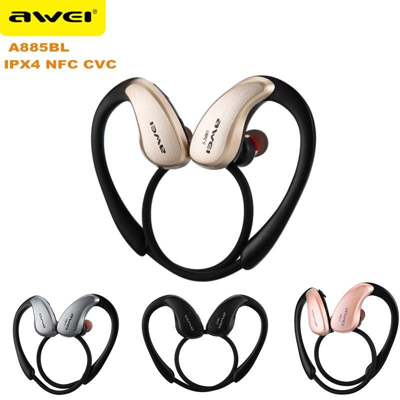 New Awei A885BL APR-X HiFi Musik Sport Kopfhörer IPX4 Wasserdichte Bluetooth Unterstützung NFC CVC Noise Reduktion Mikrofon Kopfhörer