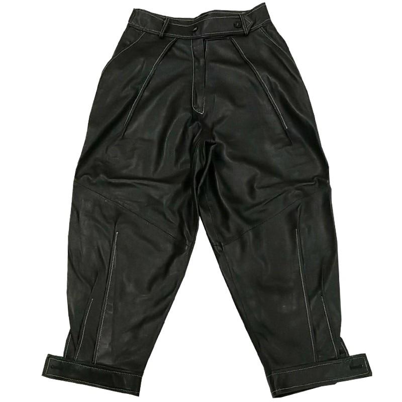Pantalon Moulant Lady Grande Haute Femmes Sarouel En Lâche Cuir Réel De Noir Black Peau Taille Véritable Mouton Streetwear BH1xzvWwq