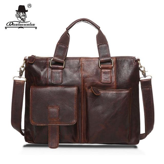 """Dioulaorentou 14 """"натуральная кожа документ портфель ретро мужчины деловые сумки мужские сумки из натуральной кожи коровы сумка для компьютера"""