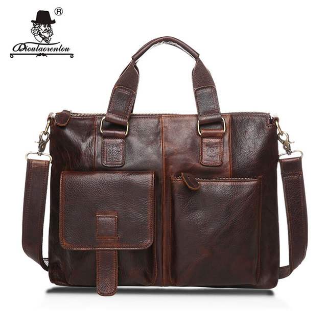 "DIOULAORENTOU 14"" Real Leather Document Briefcase Retro Men Business Bags Mens Handbags Genuine Cow Leather Bag for Computer"