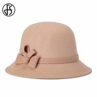 FS Winter Hats For Women England Style Cloche Caps Wide Brim Chapeu Fedoras Felt Bucket Hat