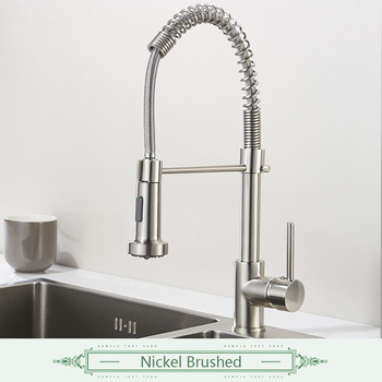 FLG Spring Style Kitchen Faucet Brushed Nickel Sink Faucet Pull Out Torneira All Around Swivel 2-Function Water Outlet Mixer Tap 11