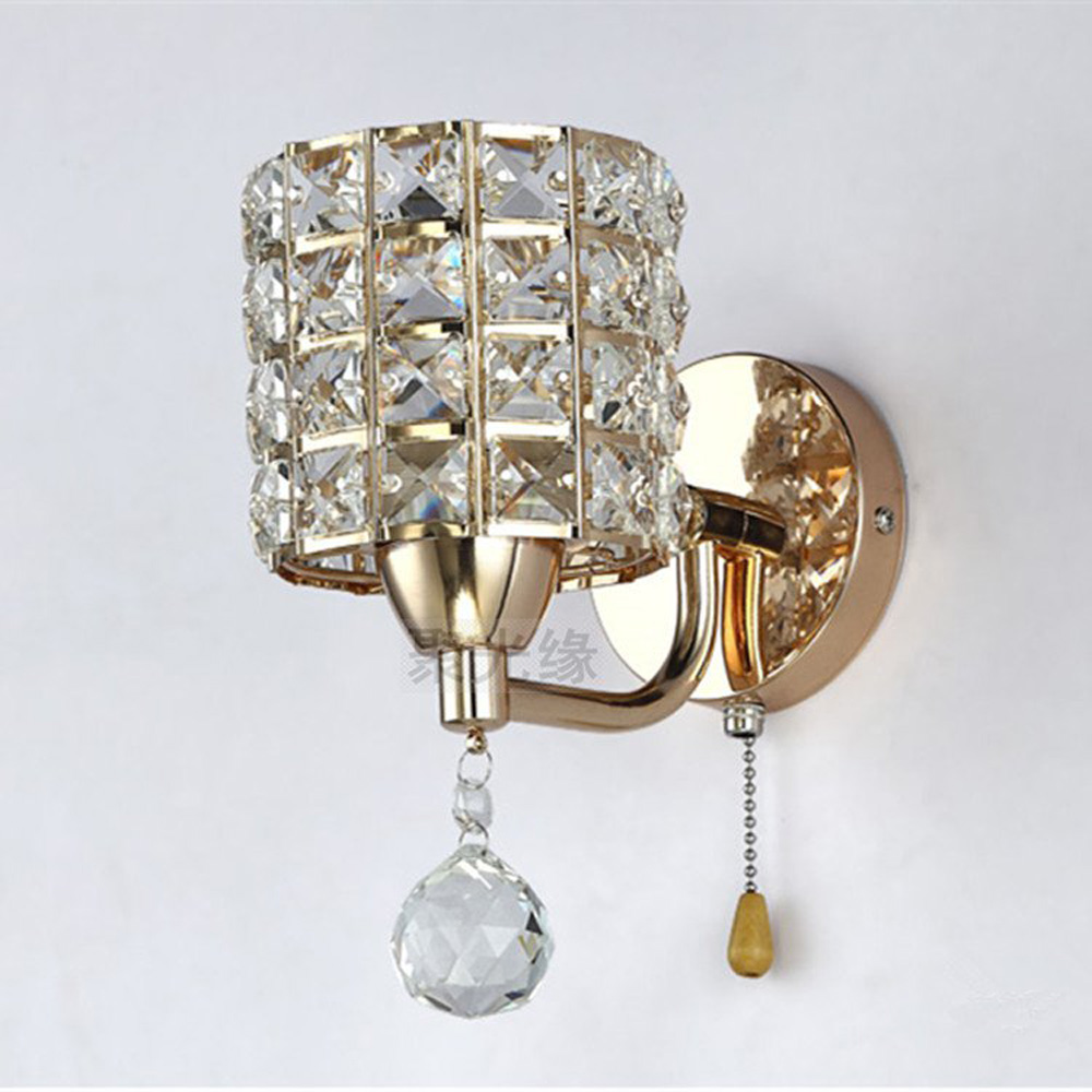 Modern Luxury Bedroom Crystal Wall Light Golden Polished Chrome - Bathroom wall sconces polished chrome