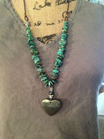 Pyrite Heart Pendant Turquoise Chip Beads Necklace N16101901