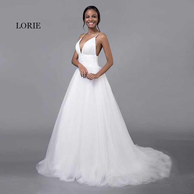 LORIE Cheap Wedding Dresses Princess Sexy Backless Spaghetti Strap Pleats Beach Tulle Real White Bridal Gown Free Shipping