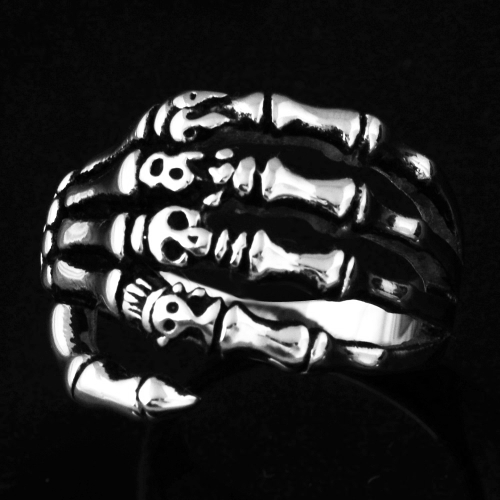 EdgLifU Pria Cincin hitam Vintage Punk Skeleton Rings Stainless steel - Perhiasan fashion - Foto 4