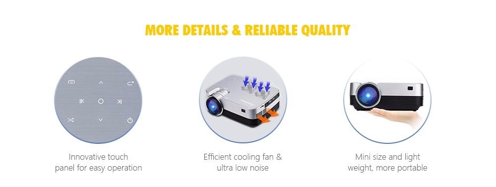Excelvan Q6 Mini Portable LED Projector 1800Lumen Touch Panel Multimedia Video Projecyor Support 1080P HDMI VGA USB Home Theater (8)