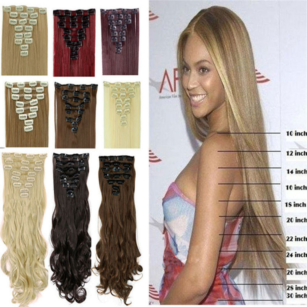 8pcs set 24 60cm straight full head clip in hair extensions 18 clips black brown blonde red. Black Bedroom Furniture Sets. Home Design Ideas