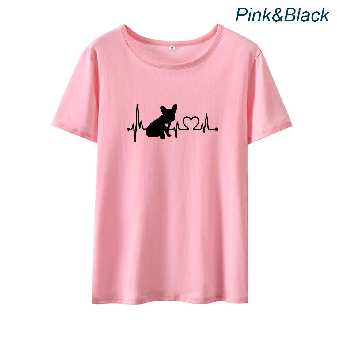 Kalp atışı Karikatür Köpek Sevimli Aşk grafikli tişört Femme O-boyun kısa kollu pamuk tişört Kadın Üst Gevşek T Shirt Kadınlar için