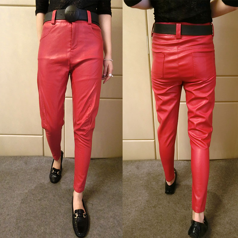 autumn and winter PU imitation leather   pants   ladies harem   pants   casual leather   pants   casual   Capris   Plus size 2XL 3XL 4XL 5XL