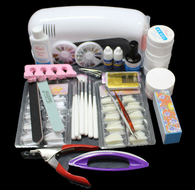Pro Nail Art Uv Gel Kits Tool Lamp Brush Remover Tips Glue Acrylic Uw