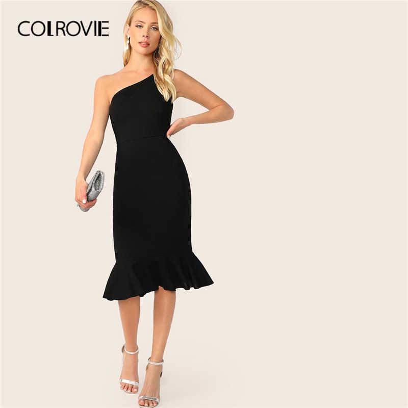 COLROVIE/черное элегантное облегающее платье с одним плечом и открытым подолом, женское однотонное платье средней длины 2019, летние женские сексуальные платья с высокой талией