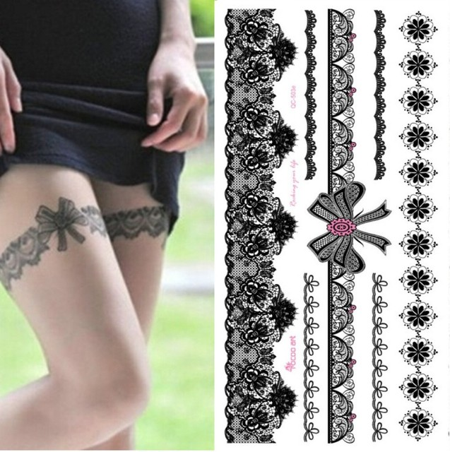 Temporary Waterproof Tattoo Sticker For Women Sexy Black Wedding Bracelet Jewelry Lace Tattoo Stickers QC8503
