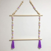 Tassel Wooden Beads Clothes Rack Kids Room Decor Wall Hanger Ornament Home Decor H99F
