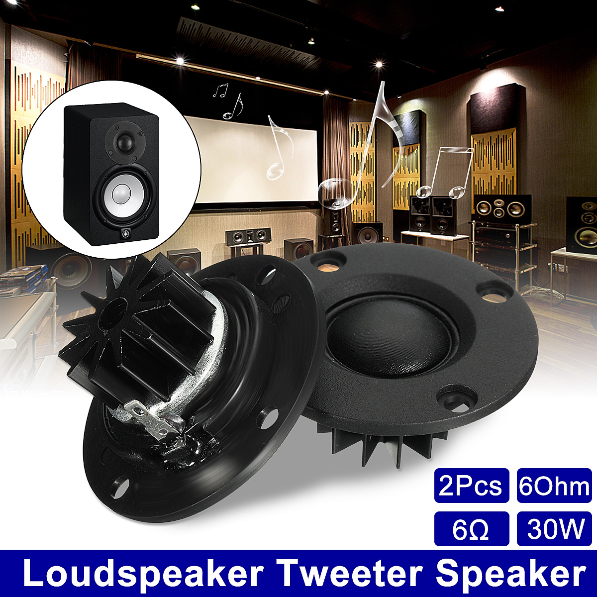 2PCS 6ohm 30W Tweeter Speaker Portable Silk Film Loudspeakers HIFI Treble With Heatsink For Stereo Sound Box DIY Accessories