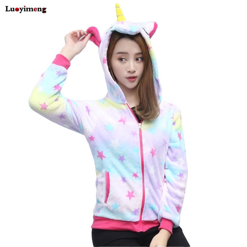 Luoyimeng Star Unicorn Hoodies Women Sweatshirts Casual Long Sleeves Hooded Crop Tops Panda Pullovers Unicornio Femme Tracksuits