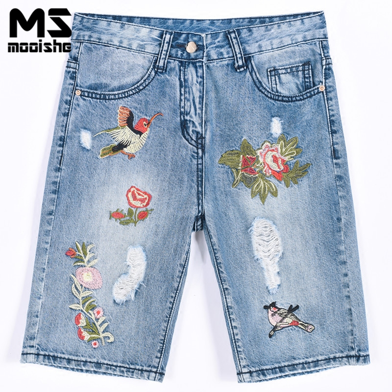 Mooishe Summer Vintage Embroidered Jeans Knee Length Ripped Bird Floral Embroidery BF Denim Pants Bottoms