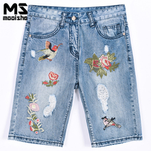 Mooishe летние винтажные вышитые джинсы по колено рваные птица цветочной вышивкой BF джинсовые штаны плавки