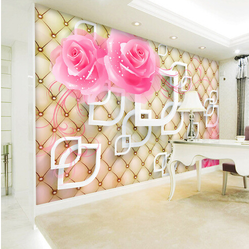 Custom Photo Silk 3D Wallpaper For Walls 3 D Living Room Bed Office TV Background Wall Covering Rose Mural
