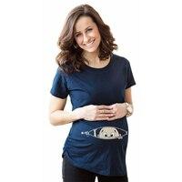 Fashion T Shirts Baby Print Maternity Shirt Cotton Funny Pregnant Shirts Gravida Top Pregnancy Clothing Tees Casual YF42