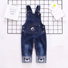 DIIMUU Classical Toddler Clothing Boys Denim Overalls Casual Jeans Pants Kids Clothes Printing Baby Suspender Pants Trousers недорого