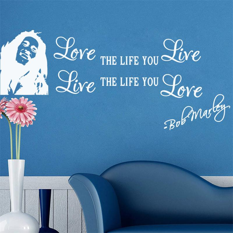 inspiration famous quote love the life you live sayings wall stickers home decor living room wall decals family house mural art