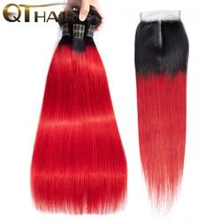Пупряди омбре с застежкой темные корни Омбре красные человеческие волосы малазийские прямые волосы 3 пряди QT красные пряди с застежкой Реми