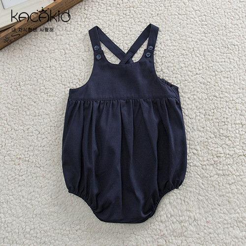 все цены на Baby Summer Clothes Navy Color Big PP Jumpsuit Toddler Girls Sleeveless Rompers Infant Boy Girl Causal Clothing 0-3 Years