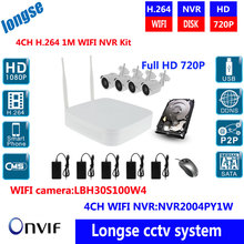 4ch WIFI NVR kit, include wifi NVR +4pcs 1MP wifi bullet camera , Full HD 4ch 720P NVR ,IR camera,support ONVIF H.264