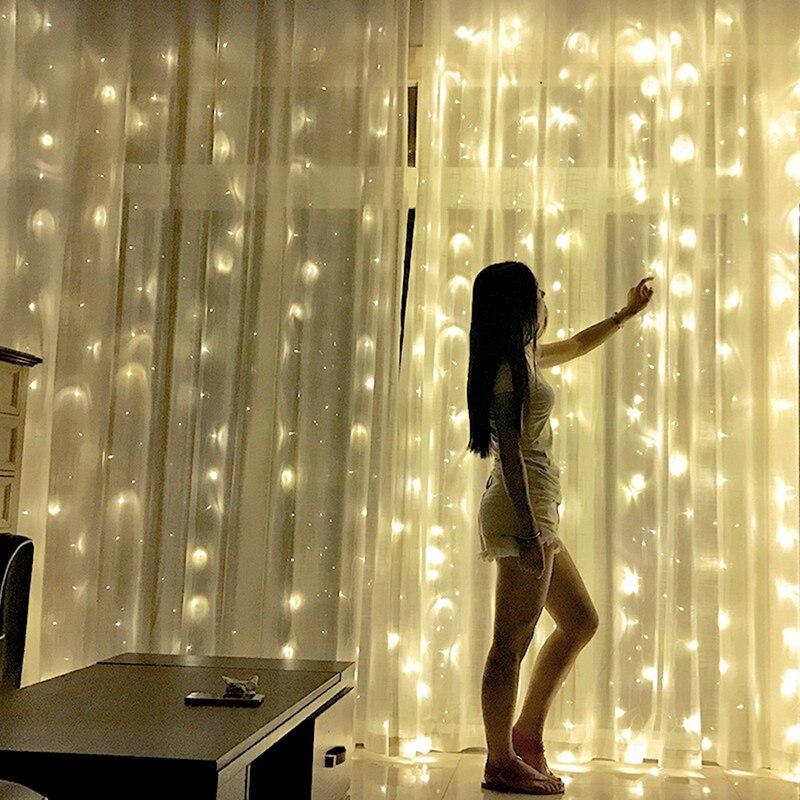 2x2/3x3/6x3 m led חתונת פיית מחרוזת אור חג המולד אור 300 led פיות אור גרלנד לגן מסיבת וילון קישוט