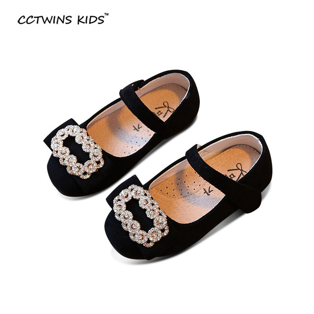 CCTWINS KIDS spring autumn baby girl pink rhinestone princess shoe toddler flock flats toddler fashion black dance mary jane