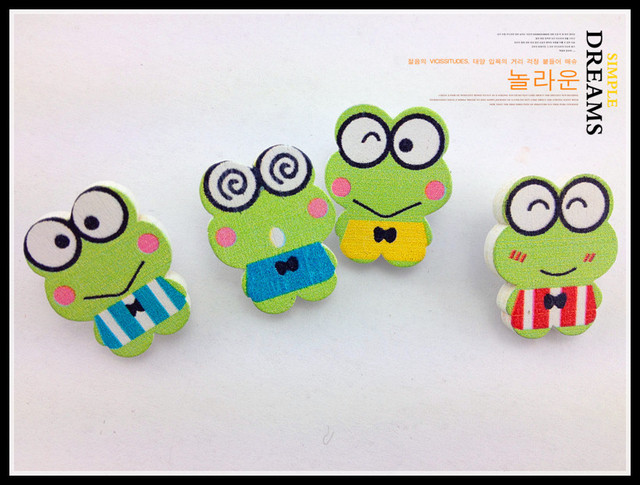 Free shipping Cute Frog Prince Buttons For Craft Mixed For decorative Scrapbooking wood buttons DIY 100pcs