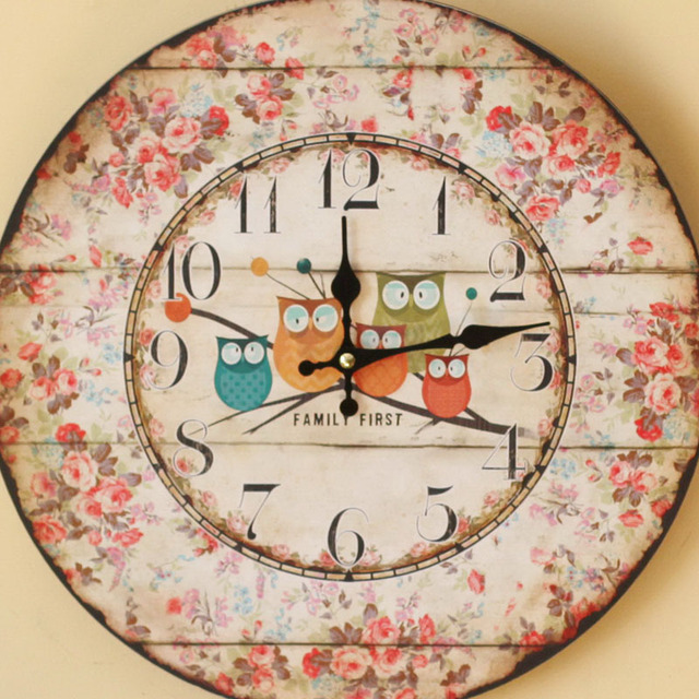 Pastoral Style Wood five owls Wall Clock coloured drawing Family Clocks Sitting Room Home decoration