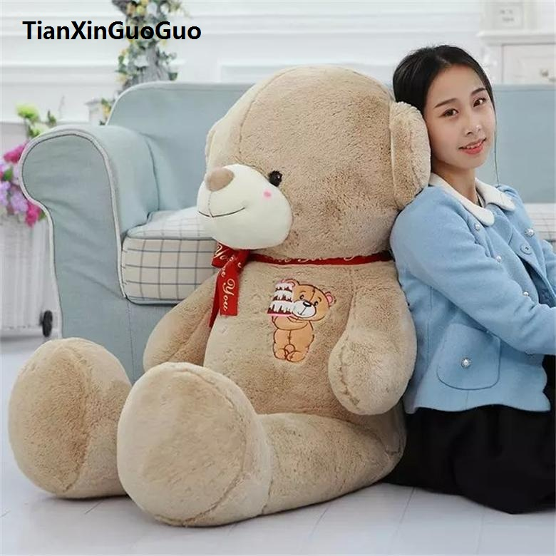 цены stuffed plush toy large 120cm teddy bear plush toy cake bear soft doll throw pillow birthday gift w2980